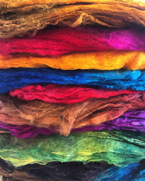 Hand Dyed Silk Hankies for Felting, Spinning, Knitting - from artist Robbin Firt