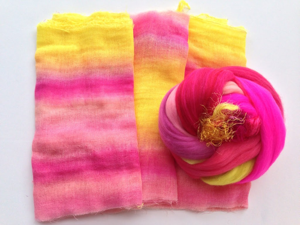 Original Scarf Felting Kits from HeartFelt Silks featuring hand-dyed fabric